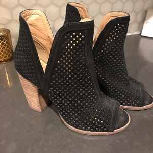Lucky Brand Black Suede Peep-toe Booties